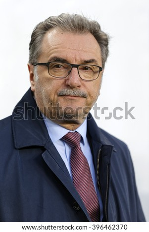 BUDAPEST, HUNGARY - MARCH 26, 2016: Croatian head coach, Ante Cacic during Hungary vs. Croatia international friendly football match in Groupama Arena.