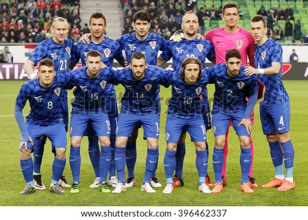 BUDAPEST, HUNGARY - MARCH 26, 2016: Croatian team during Hungary vs. Croatia international friendly football match in Groupama Arena.
