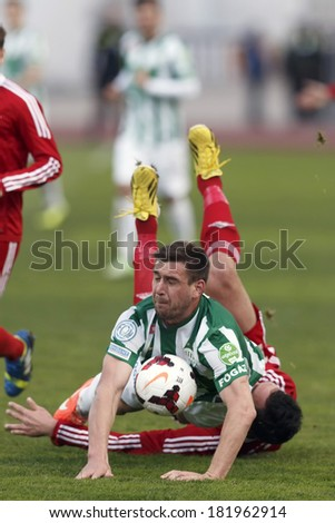 BUDAPEST, HUNGARY - MARCH 16, 2014: Daniel Bode of Ferencvaros (l) falls on Peter Mate of DVSC (r) during Ferencvaros vs. Debreceni VSC OTP Bank League football match at Puskas Stadium.