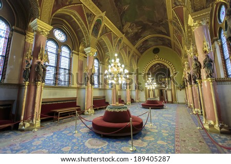 BUDAPEST, HUNGARY - MARCH 26, 2014: Interior of Hungarian Parliament Building in Budapest. It is one of Europe's oldest legislative buildings and a popular tourist destination of Budapest.