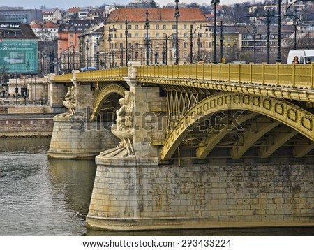 BUDAPEST, HUNGARY - MARCH 24: Margaret Bridge on March 24, 2015 in Budapest, Hungary. Margaret Bridge is the second northernmost and second oldest public bridge in Budapest, built in 1872-1876. - stock photo