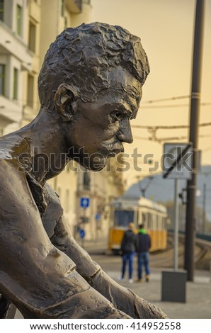 Budapest - Hungary, March 20 2016: Portrait of the Poet Attila Jozsef statue in Budapest located near the Hungarian Parliament in Hungary