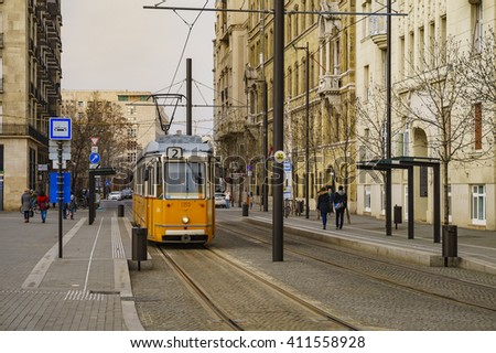 BUDAPEST - HUNGARY, MARCH 20 2016: The Famous yellow tram in Budapest, Hungary.