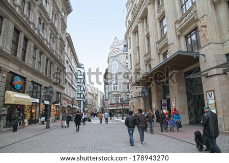 BUDAPEST HUNGARY-MARCH 17: Vaci Utca street is a shopping spot in the city center on March 17, 2013 in Budapest Hungary