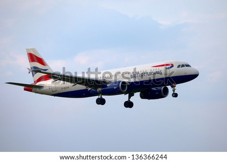 BUDAPEST, HUNGARY - MAY 5: British Airways A320 approaching Budapest Liszt Ferenc Airport, May 5th 2012. British Airways if the flag carrier airline of the United Kingdom, operating 256 aircrafts. - stock photo
