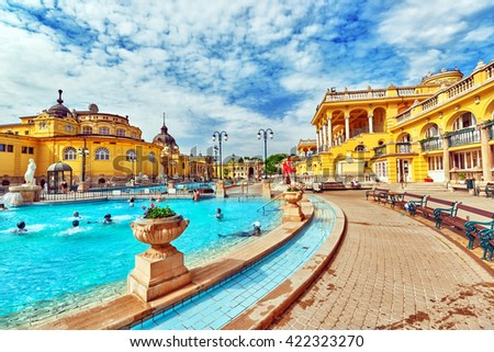 BUDAPEST, HUNGARY - MAY 05,2016: Courtyard of Szechenyi Baths, Hungarian thermal bath complex and spa treatments. - stock photo