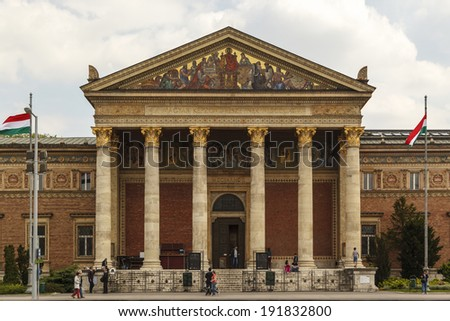 BUDAPEST/HUNGARY - MAY 8: Palace of Arts  in Budapest on May 8, 2014. Palace of Arts is a contemporary art museum built in 1895, in eclectic-neoclassic al style, home for many art expeditions.  - stock photo