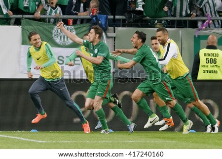BUDAPEST, HUNGARY - MAY 7, 2016: The player of Ferencvarosi TC celebrate Zoltan Gera's score during the Hungarian Cup Final football match between Ujpest FC and Ferencvarosi TC at Groupama Arena - stock photo