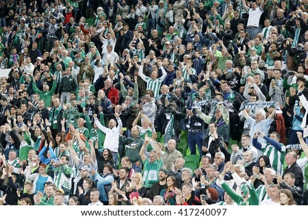 BUDAPEST, HUNGARY - MAY 7, 2016: The supporters of Ferencvarosi TC celebrate the victory during the Hungarian Cup Final football match between Ujpest FC and Ferencvarosi TC at Groupama Arena