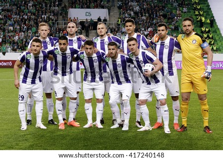 BUDAPEST, HUNGARY - MAY 7, 2016:  The team of Ujpest FC during the Hungarian Cup Final football match between Ujpest FC and Ferencvarosi TC at Groupama Arena - stock photo