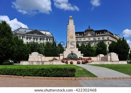 BUDAPEST, HUNGARY - MAY 16: View of the Soviet War Memorial in Budapest, Hungary Budapest on May 16, 2016. Budapest it the capital and largest city of Hungary.