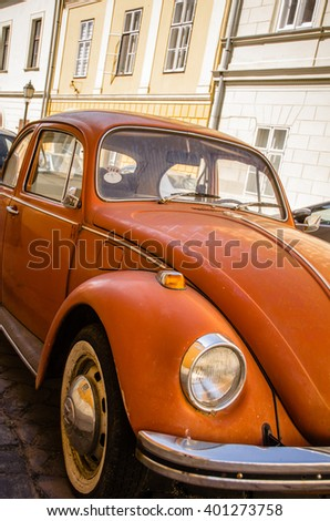 BUDAPEST, HUNGARY - May 12, 2015: Vintage antique Volkswagen Beetle car parked on a street in Budapest, Hungary. - stock photo