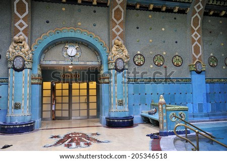 BUDAPEST, HUNGARY, - November. 2. 2008: Gellert Thermal Bath, traditional Hungarian thermal bath complex with spa treatments. The bath house has beautiful Art Nouveau architecture dating back to 1918 - stock photo