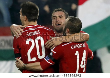 BUDAPEST, HUNGARY - NOVEMBER 15, 2015: Hungarian Daniel Bode celebrates with his teammates the second goal during Hungary vs. Norway UEFA Euro 2016 qualifier play-off football match at Groupama Arena.