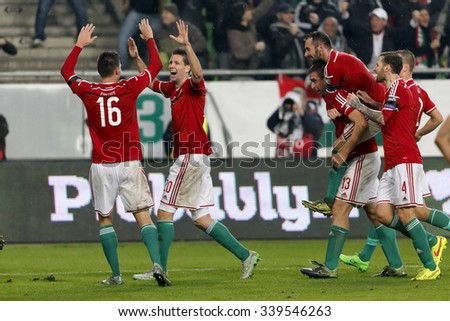 BUDAPEST, HUNGARY - NOVEMBER 15, 2015: Hungarian Guzmics, Bode, Fiola, Kadar celebrate with his teammates the second goal during Hungary vs. Norway UEFA Euro 2016 qualifier match at Groupama Arena.