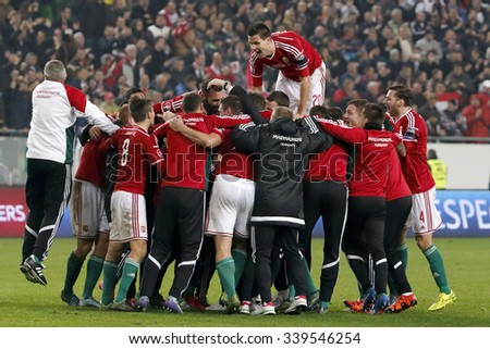 BUDAPEST, HUNGARY - NOVEMBER 15, 2015: Hungarian team celebrates the victory during Hungary vs. Norway UEFA Euro 2016 qualifier play-off football match at Groupama Arena. - stock photo
