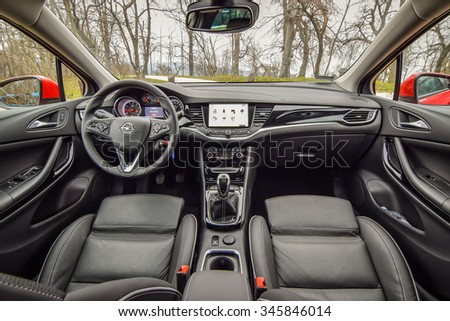 BUDAPEST, HUNGARY - NOVEMBER 27, 2015: 2016 model year Opel Astra (generation K) at the test-drive. Photo of black leather sport interior.