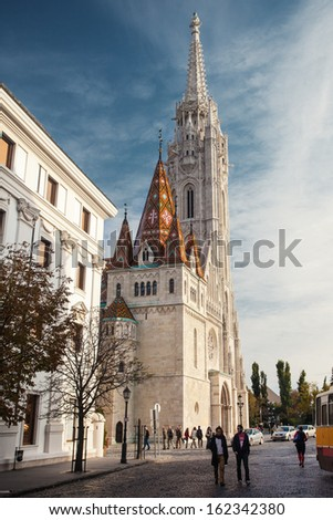 BUDAPEST, HUNGARY - OCT 19: Matthias Church on October 19, 2013 in Budapest, Hungary. It is one of the top Budapest attractions