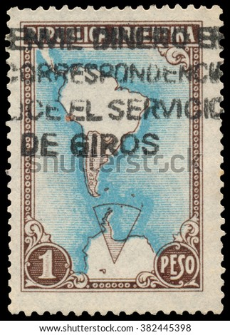 BUDAPEST, HUNGARY - 13 october 2015: a stamp printed by Argentina shows map of Argentina and Antarctic territories, circa 1951
