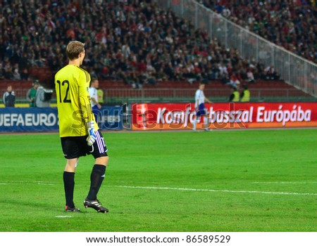 BUDAPEST, HUNGARY - OCTOBER 11 :Finnish international goalkeeper Otto Fredrikson at Hungary - Finland European Cup qualifier football match at October 11, 2011 in Budapest, Hungary. - stock photo
