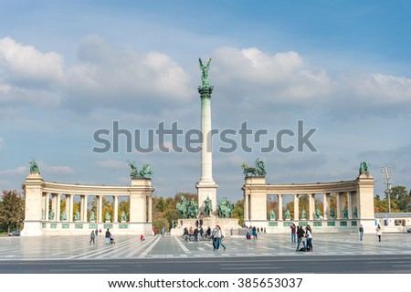 BUDAPEST, HUNGARY - OCTOBER 26, 2015: Heroes square in Budapest with tourist in background