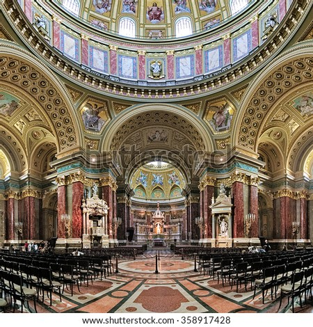 BUDAPEST, HUNGARY - OCTOBER 3, 2015: Interior of St. Stephen's Basilica. It is named in honour of Stephen, the first King of Hungary (c 975-1038), whose supposed right hand is housed in the reliquary. - stock photo