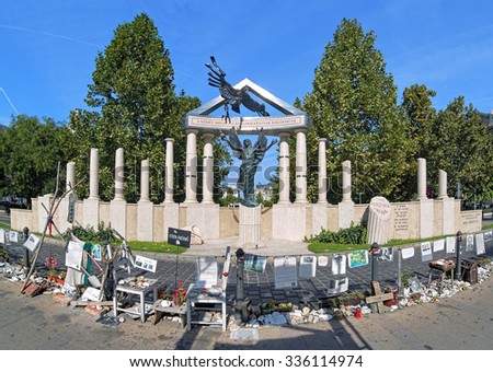 BUDAPEST, HUNGARY - OCTOBER 3, 2015: Memorial to the Victims of German occupation and Civil protest against it. The protesters believe that the memorial, unveiled on July 20, 2014, falsifies history.