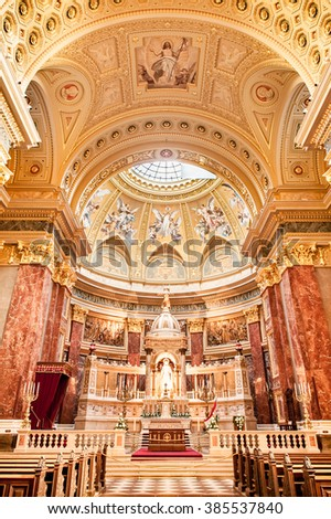 BUDAPEST, HUNGARY - OCTOBER 30, 2015: St. Stephen's Basilica in Budapest. Interior Details. Altar