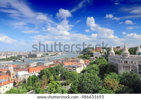 Budapest, Hungary - Old Town view with Danube river and Fisherman's Bastion.
