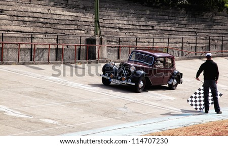 BUDAPEST, HUNGARY - SEPT 15: a French car named Citroen Traction 11 BL on display at the Velodrom Millenaris Old Timer Expo  on September 15, 2012 in Budapest, Hungary - stock photo