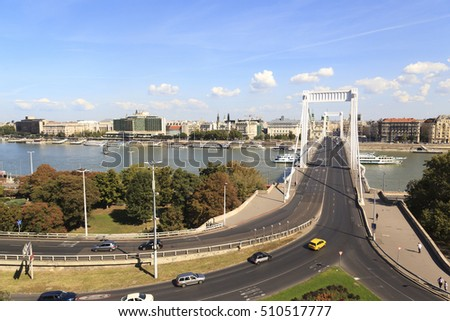 BUDAPEST HUNGARY - SEPT 27 2016: Magnificent view Elisabeth Bridge (Hungarian: Erzsebet hid) is the third newest bridge of Budapest, Hungary, connecting Buda and Pest across the River Danube