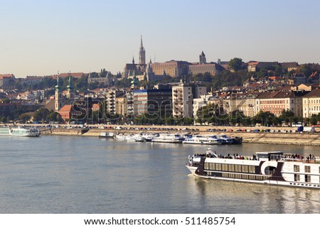 "BUDAPEST, HUNGARY  SEPT. 27 2016: View from the Buda side of Budapest with the river Danube. River cruiseliners stop at Budapest  ""Pearl of Danube"" being one of the most beautiful city in our planet."