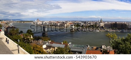 BUDAPEST HUNGARY SEPT 27 16: View from the Castle District, over the Danube. Budapest population takes the ninth place in the Europe, many treasures of her are listed by UNESCO as a World Heritage.