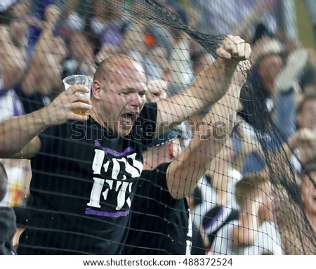 BUDAPEST, HUNGARY - SEPTEMBER 24, 2016: A fan of Ujpest FC celebrates his team's goal during Ferencvaros v Ujpest FC OTP Bank Liga match at Groupama Arena