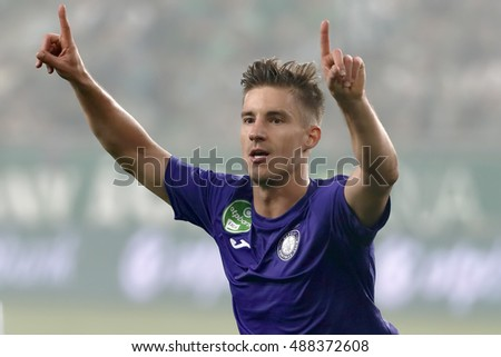 BUDAPEST, HUNGARY - SEPTEMBER 24, 2016: Balazs Balogh of Ujpest FC celebrates his goal during Ferencvaros v Ujpest FC OTP Bank Liga match at Groupama Arena