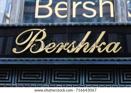 Budapest, Hungary, September 13, 2017: Bershka sign on a building. Bershka is a retailer and part of the Spanish Inditex group which also own the brands of Zara, Massimo Dutti, Pull&Bear and more