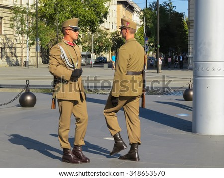 BUDAPEST, HUNGARY - SEPTEMBER 22, 2015:  Ceremonial changing of the guard at the entrance of the Hungarian parliament