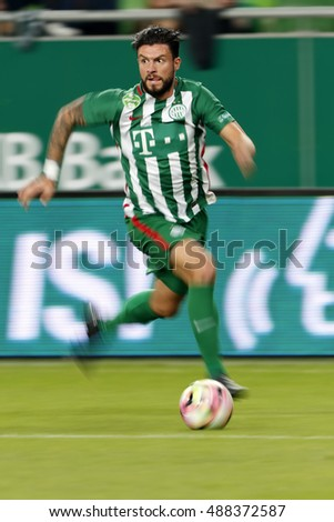 BUDAPEST, HUNGARY - SEPTEMBER 24, 2016: Marco Djuricin of Ferencvarosi TC controls the ball during Ferencvaros v Ujpest FC OTP Bank Liga match at Groupama Arena