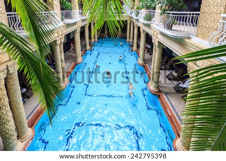 BUDAPEST, HUNGARY, - September 5th. 2014: Gellert Thermal Bath, traditional Hungarian thermal bath complex with spa treatments.  - stock photo