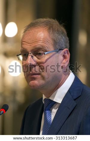 BUDAPEST, HUNGARY - SEPTEMBER 4: Tibor Navracsics, European Commissioner for Education, Culture and Youth speaks on the opening ceremony of ELTE University on September 4, 2015 in Budapest, Hungary.