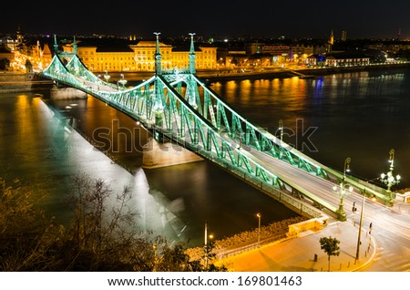 Budapest, Hungary. Szabadsag, Liberty Bridge connects Buda and Pest across the River Danube, built in 1896.