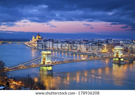 Budapest. Image of Budapest, capital city of Hungary, during twilight blue hour. - stock photo