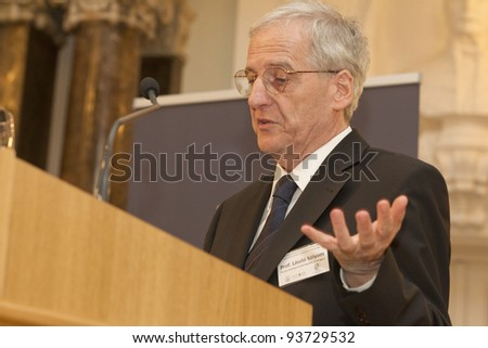 "BUDAPEST - JANUARY 26: Prof. Laszlo Solyom former president of Hungary on the Conference ""The European Constitutional Area"" org. by Max Planck Inst. & ELTE Univ. on Jan.26, 2012 in Budapest, Hungary."