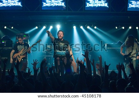 BUDAPEST - JANUARY 18: USA Death Metal Band called The Black Dahlia Murders performs on stage at Diesel Club on  January 18, 2010 in Budapest, Hungary.