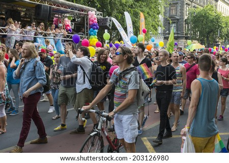BUDAPEST, JULY 05: Unidentified people participate at the 19th Budapest Pride on 05 July 2014 in Budapest, Hungary. The Budapest Pride in one of the popular gay parades in Europe. - stock photo