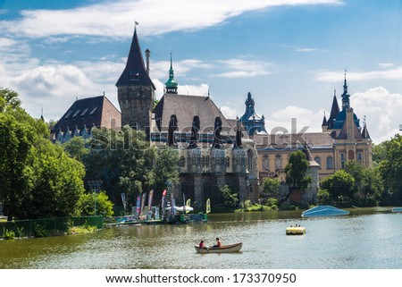 BUDAPEST - JULY 22: Vajdahunyad castle. It was built between 1896 and 1908 as part of the Millennial Exhibition on July 22, 2013 in Budapest.