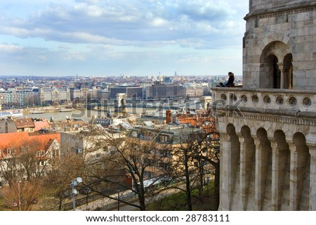 Budapest landscape from the Fishermen's Bastion - stock photo