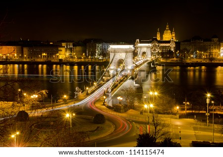 Budapest lookout at night with Chain Bridge - stock photo