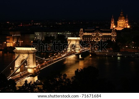 Budapest lookout at night with Chain Bridge, Gresham Palace and St. Steven Basilica - stock photo