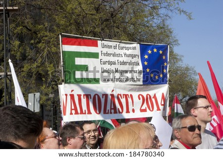 BUDAPEST - MARCH 30: Opposition demonstration on Andrassy way on March 30, 2014 in Budapest.